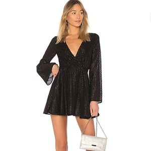L'Academie The Wrap Mini Dress Black Fringe